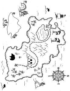 leuke kaart om er voor de kleuters een schatkaart van te maken