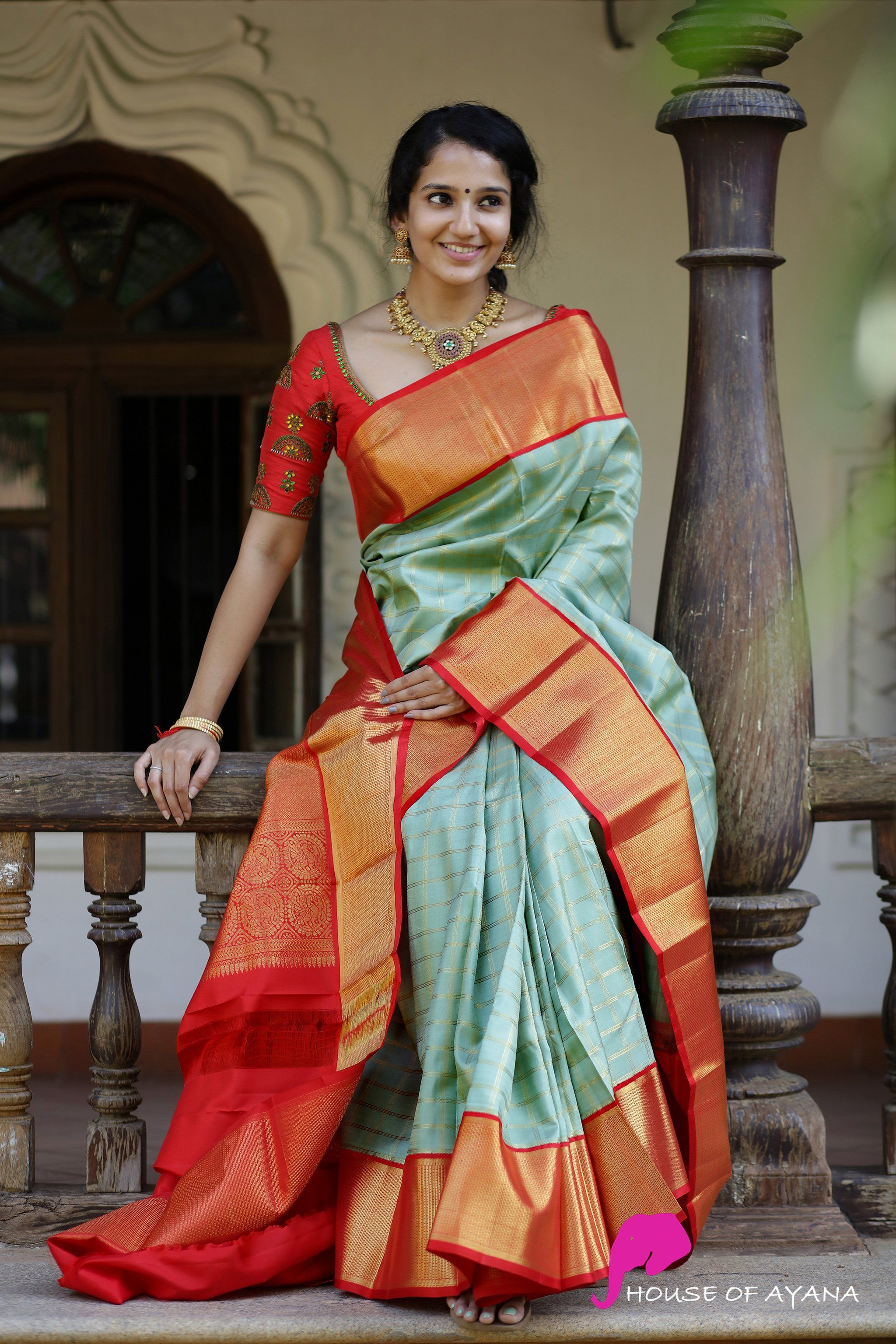 Kanchipuram Silk Sarees Shop In Chennai Bridal Kanchipuram Sarees House Of Ayana In 2020 Silk Saree Blouse Designs Wedding Saree Blouse Designs Latest Silk Sarees