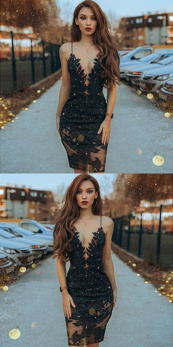 Sheath Spaghetti Straps Black Beaded Short Prom Dress With Lace,H3634