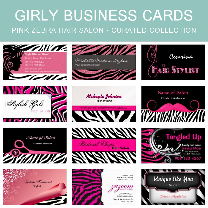 Pink and black zebra print hair salon business cards a collection pink and black zebra print hair salon business cards a collection of 12 trendy pink and reheart Image collections