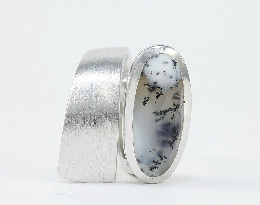Bague opale dendritique en argent 43 brossé Bague bandeau pierre ... - Bijoux Moderne