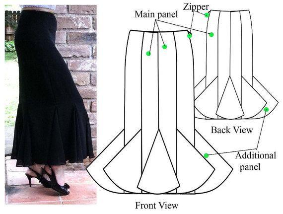 Gored skirt – PDF sewing pattern – Godet maxi skirt– Women\'s sewing ...