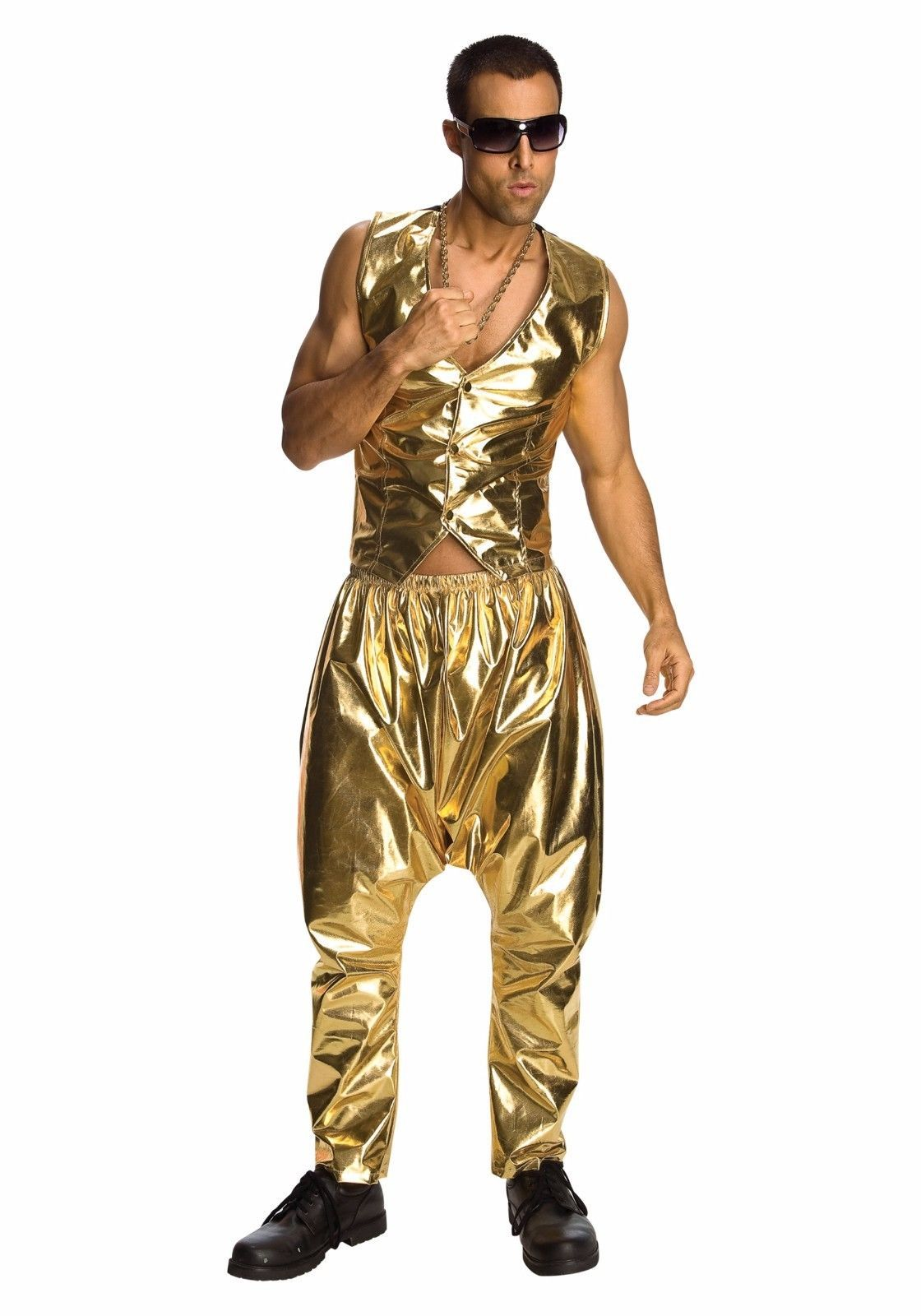 9.85 - 80S Rapper Mc Hammer Vanilla Ice Gold Pants Costume - Fast - 80 s  Parachute Pant  ebay  Fashion 7df3dd4c8e3