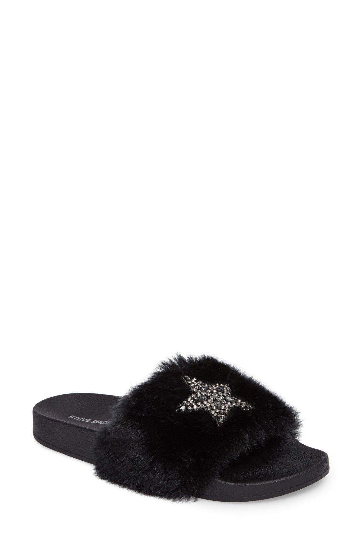 31ddef6c491 Steve Madden   Shimmer Embellished Faux Fur Slide   SHOES AND BOOTS ...