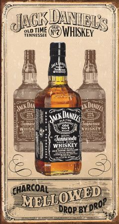 JACK DANIELS WHISKEY OLD TIME Small Vintage Metal Tin Pub Sign