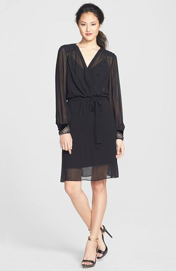 Donna Morgan Embellished Cuffs Faux Wrap Chiffon Dress available at #Nordstrom