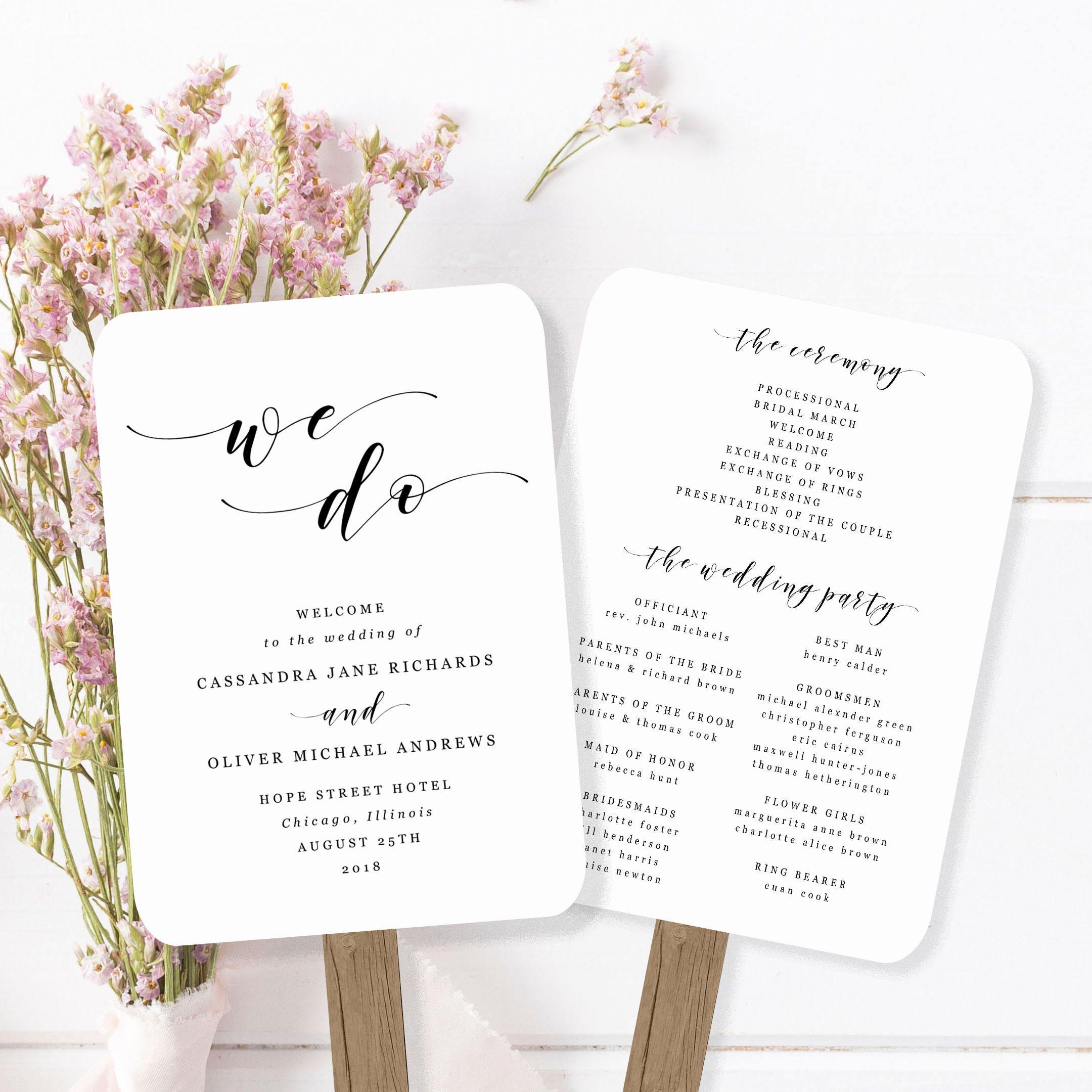 Printable Wedding Fan Program Template Modern Calligraphy