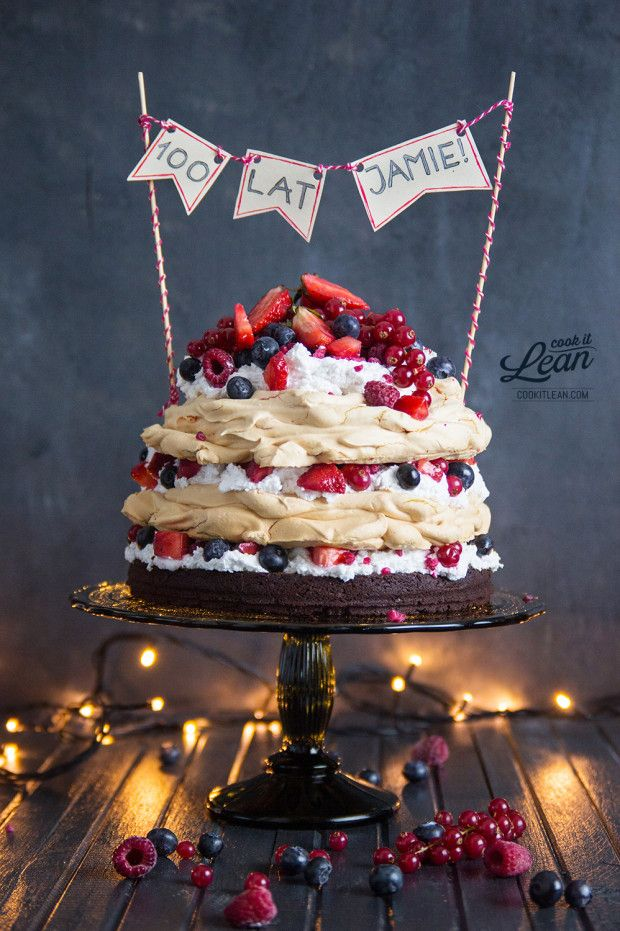 Meringue Cake With Brownie Base Coconut Cream Red Fruits Yum