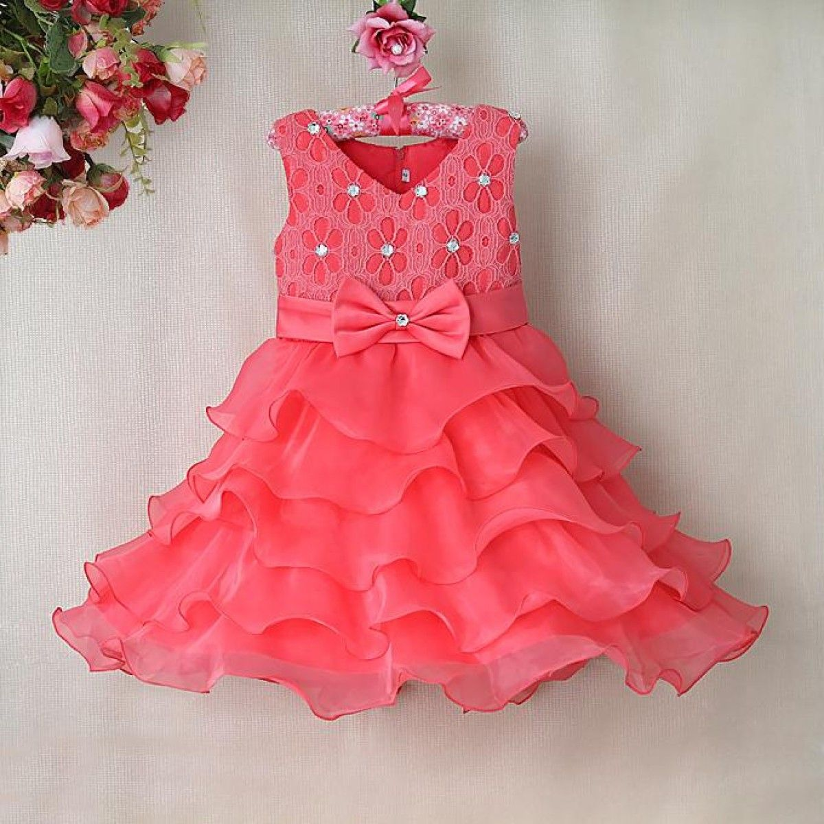 Gorgeous Peach Colored Ruffle Wedding Party Dress for