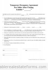 Sample Printable TemporaryOccupancyAgreement Form  Sample Real