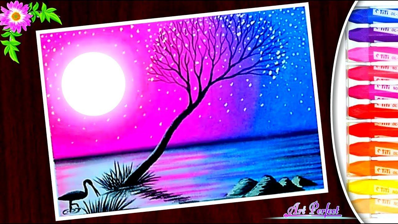 Easy Trick A Beautiful Purple Moonlight Scenery Drawing Oil Pastel