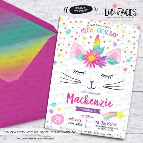 caticorn birthday party invitations cat unicorn rainbow