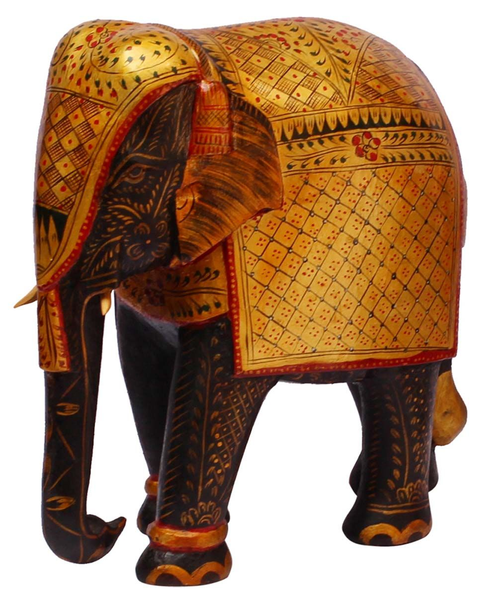 """Bulk Wholesale 8"""" Hand-Carved Kadam-Wood Golden Statue / Sculpture of Elephant Painted in Traditional Style Motifs – Royal-Look Gifts from India"""