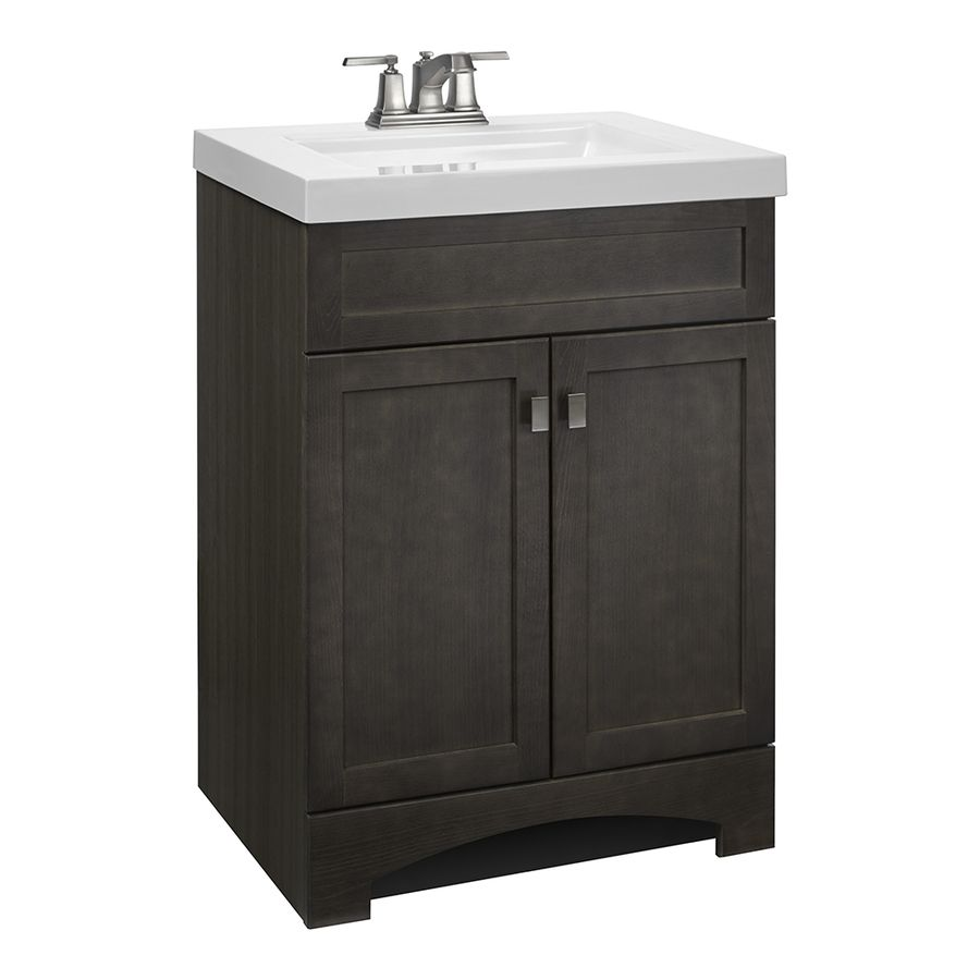 Digital Art Gallery Style Selections Drayden Gray in Integral Single Sink Bathroom Vanity with Cultured Marble Top