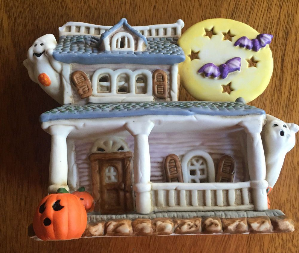 Ceramic Halloween Whimsical Village Building Farm House Halloween - halloween house decoration