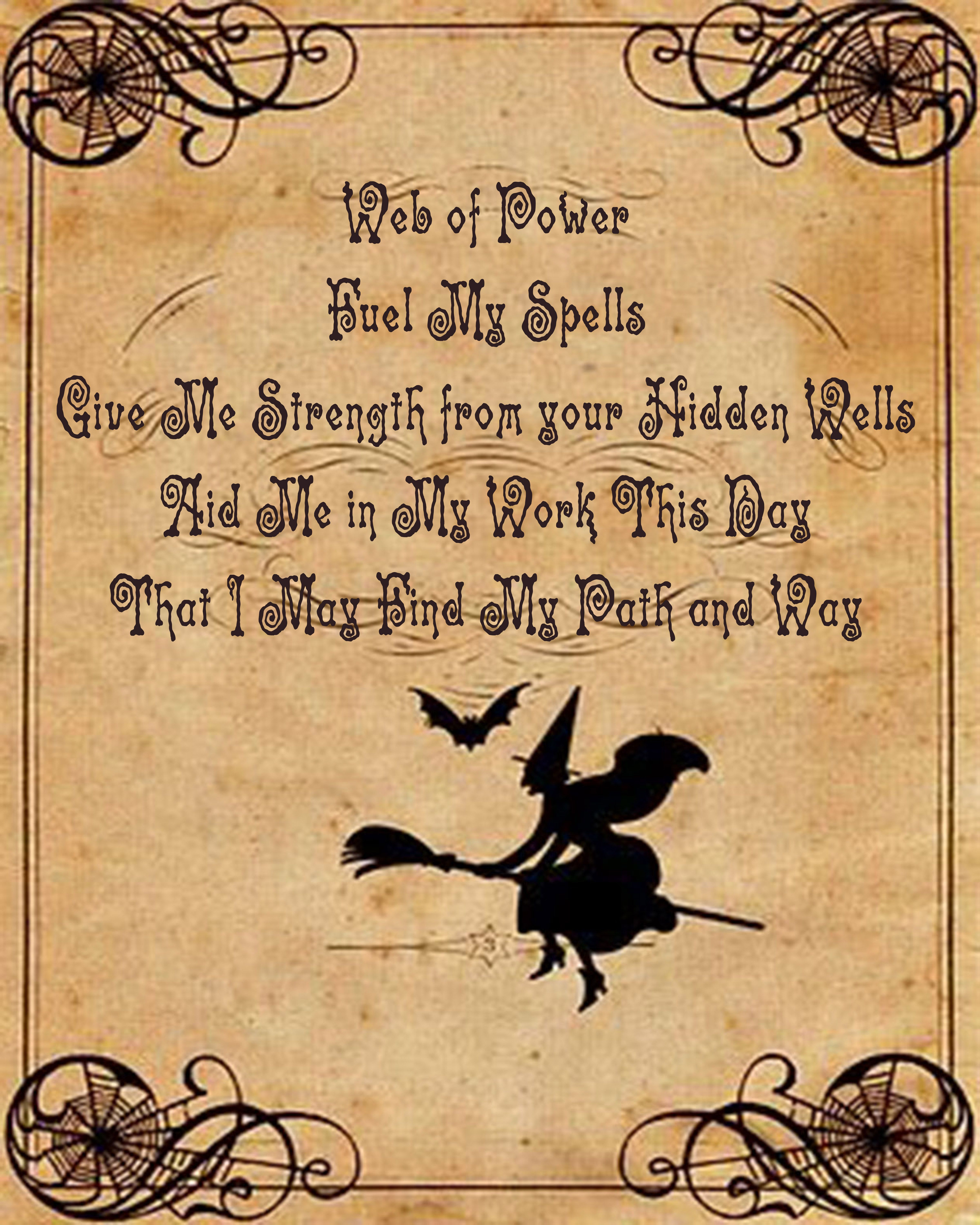 Power and path spell with flying witch, by Haven Craft  | Spells and