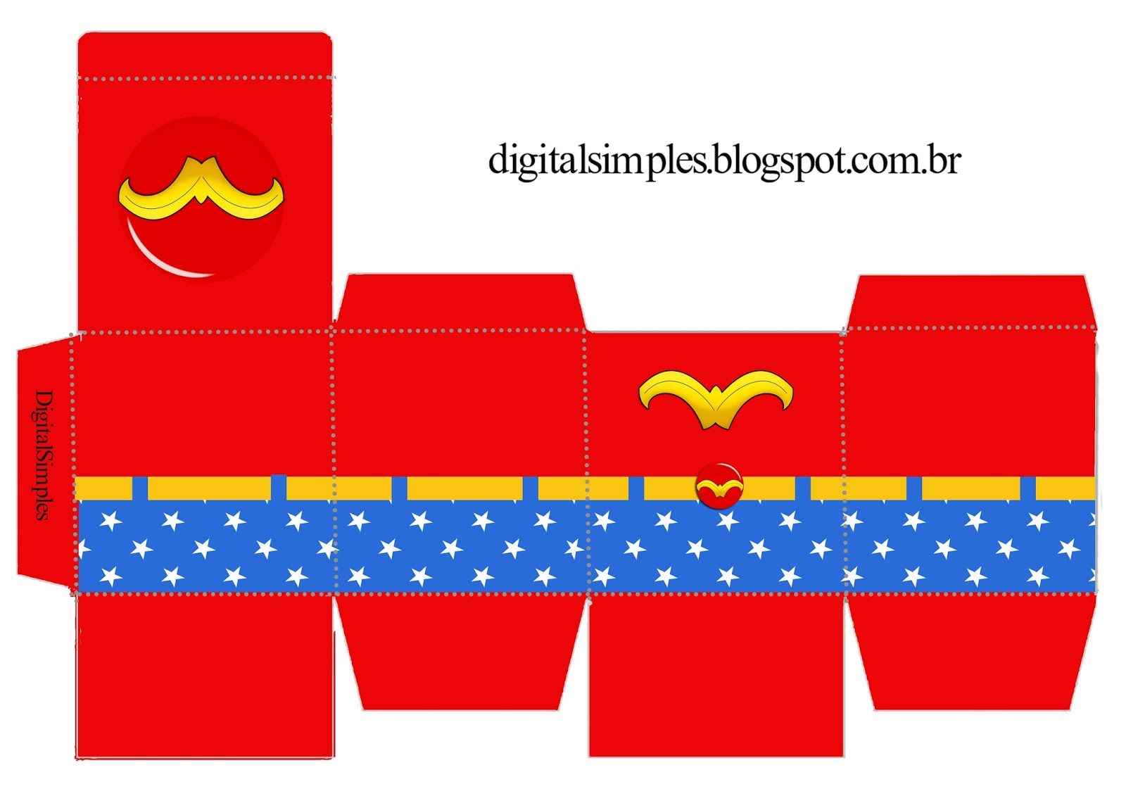 Caixa Cubo Dupla com Personagens Convites Digitais Simples