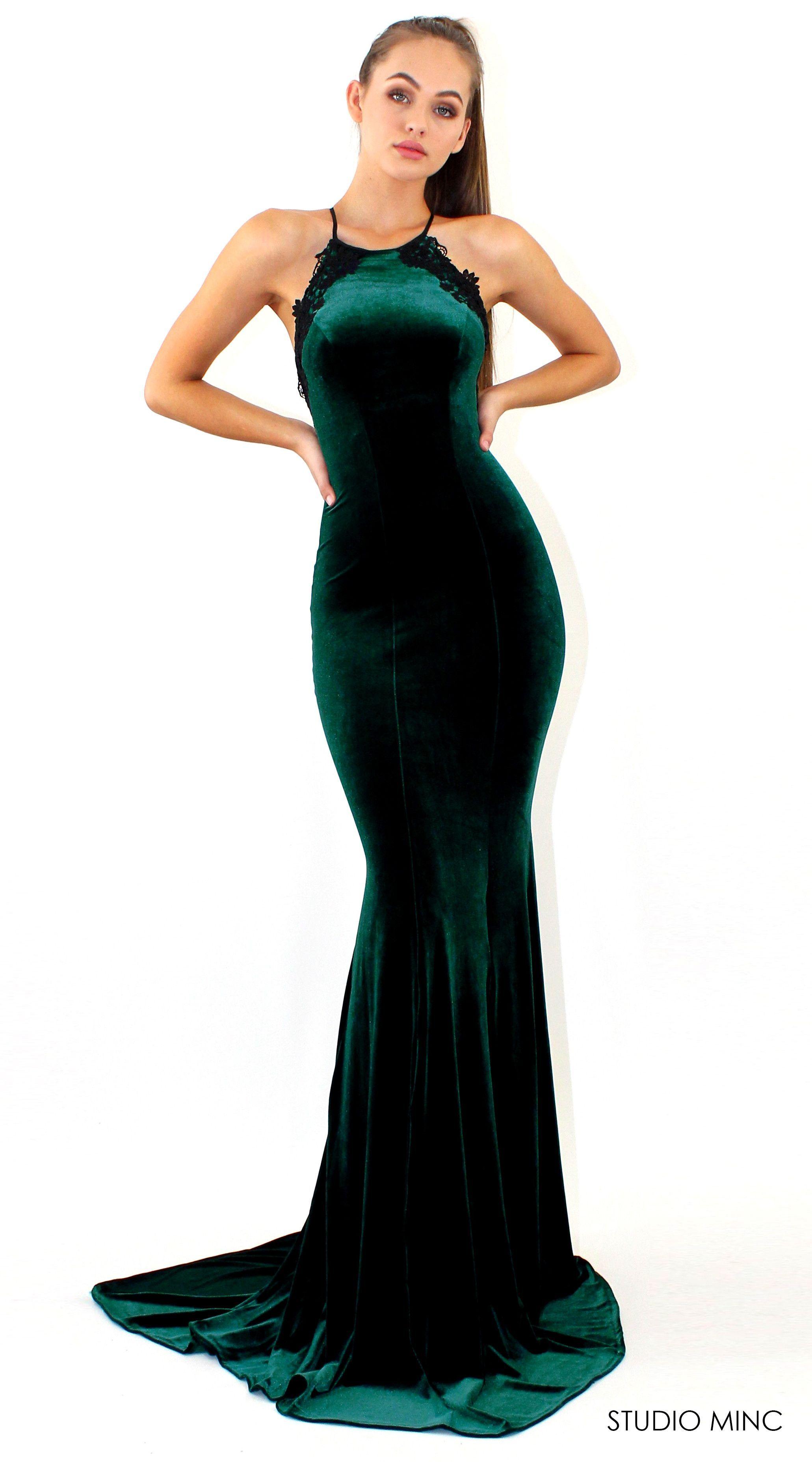 Emerald green prom dress  EMERALD GREEN PROMISE DRESS  VELVET FORMAL  PROM DRESS BY