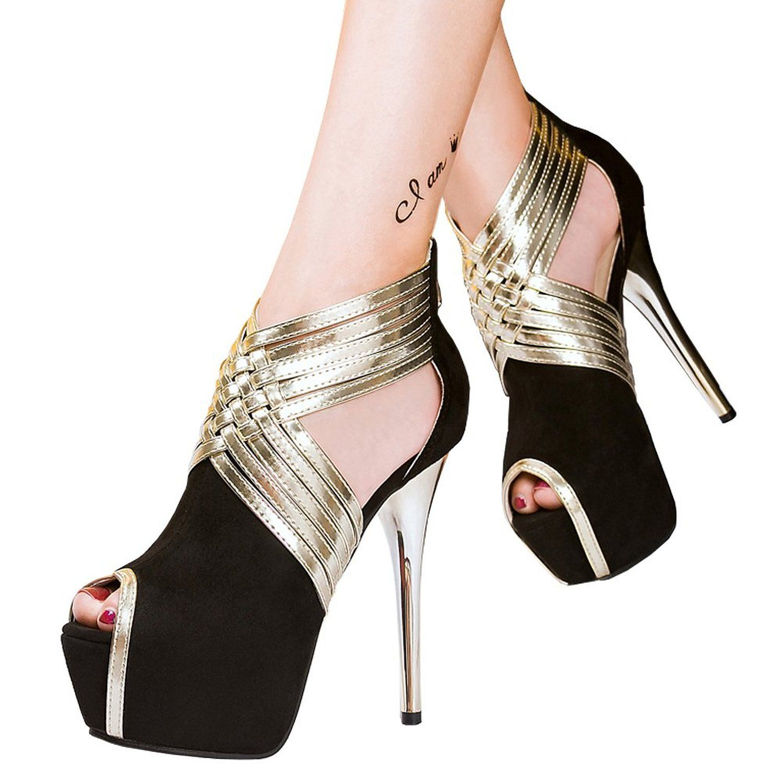 Black sandals on amazon - Amazon Com Fereshte Womens Sexy Fashion Peep Toe Stripe Sandals Super High Heels