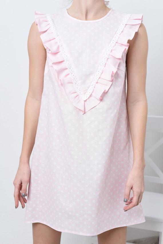 Linen tunic dress in polka dot print/ Summer Linen tunic /Linen tunic / Linen tunic with linen lace #078-A #linentunic