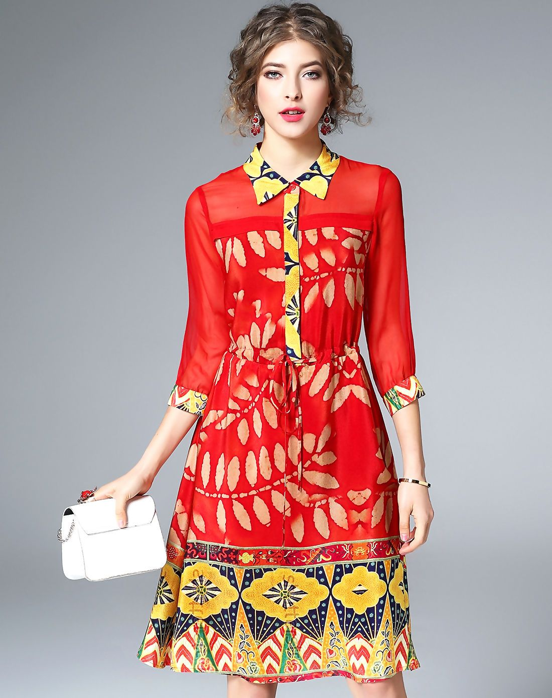 683d7f7a2 Shop Elenyun Silk Colour Block Printed Shirt Dress online❤ VIPme.com offers  quality Shirt Dresses from fashion designers at affordable prices.