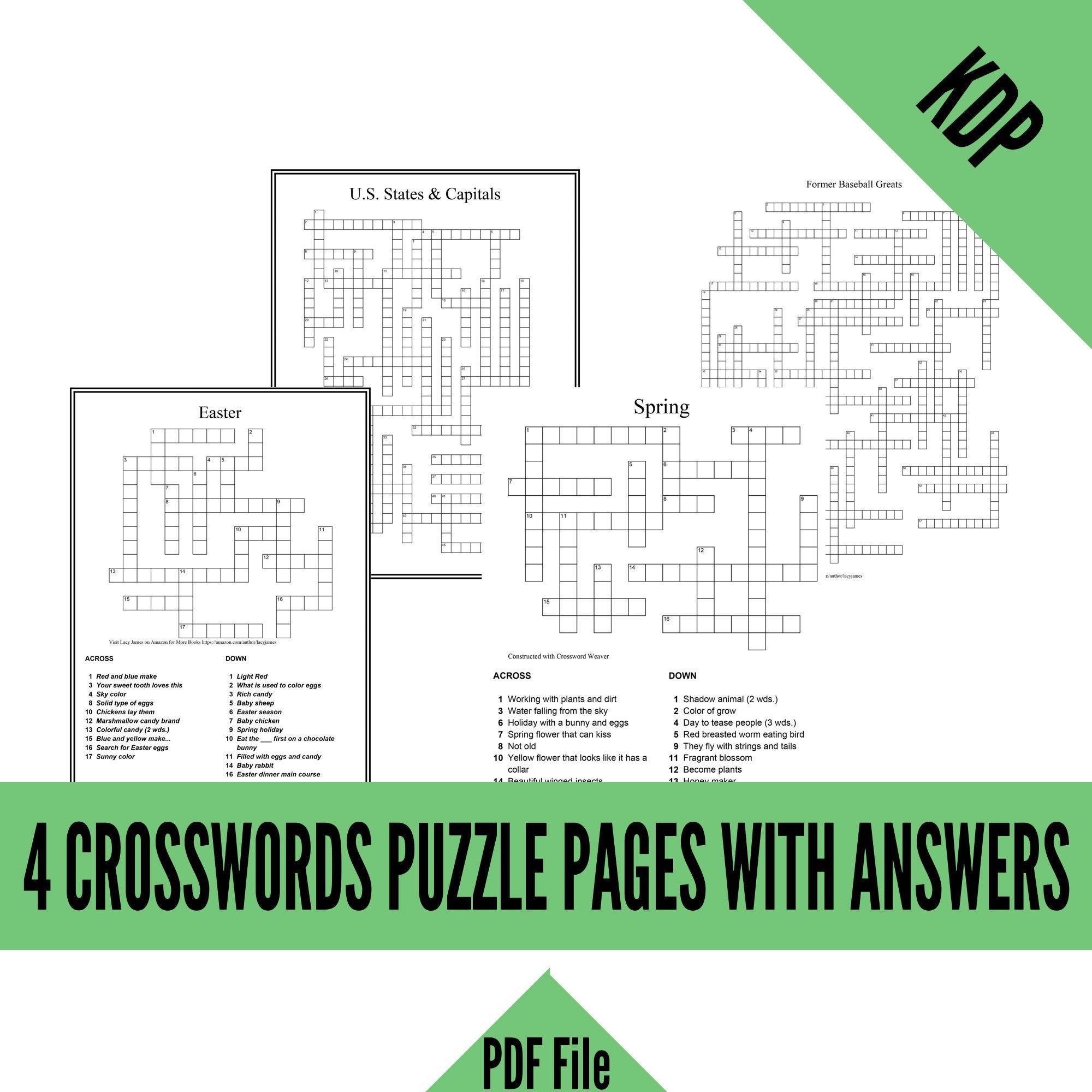 Kdp 4 Crossword Puzzles With Clues And Answers In Pdf Format For Creating Kdp Activity Books Spring Easter Baseball Greats State Capitals In 2020 Book Activities Design Puzzle Crossword Puzzles