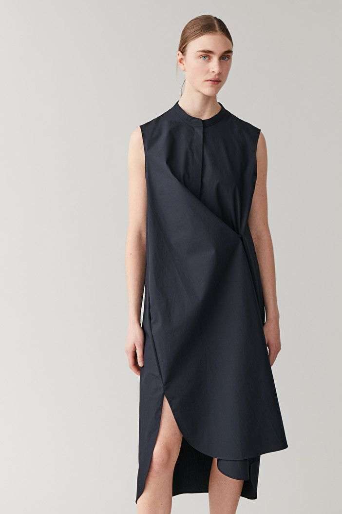 COTTON SHIRT DRESS - Navy - Shirt dresses - COS WW