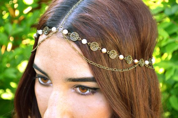Pearl Head Chain // Bohemian Head Accessory // Flower Headband // Boho // Wedding Hair Accessory // Statement Head Piece