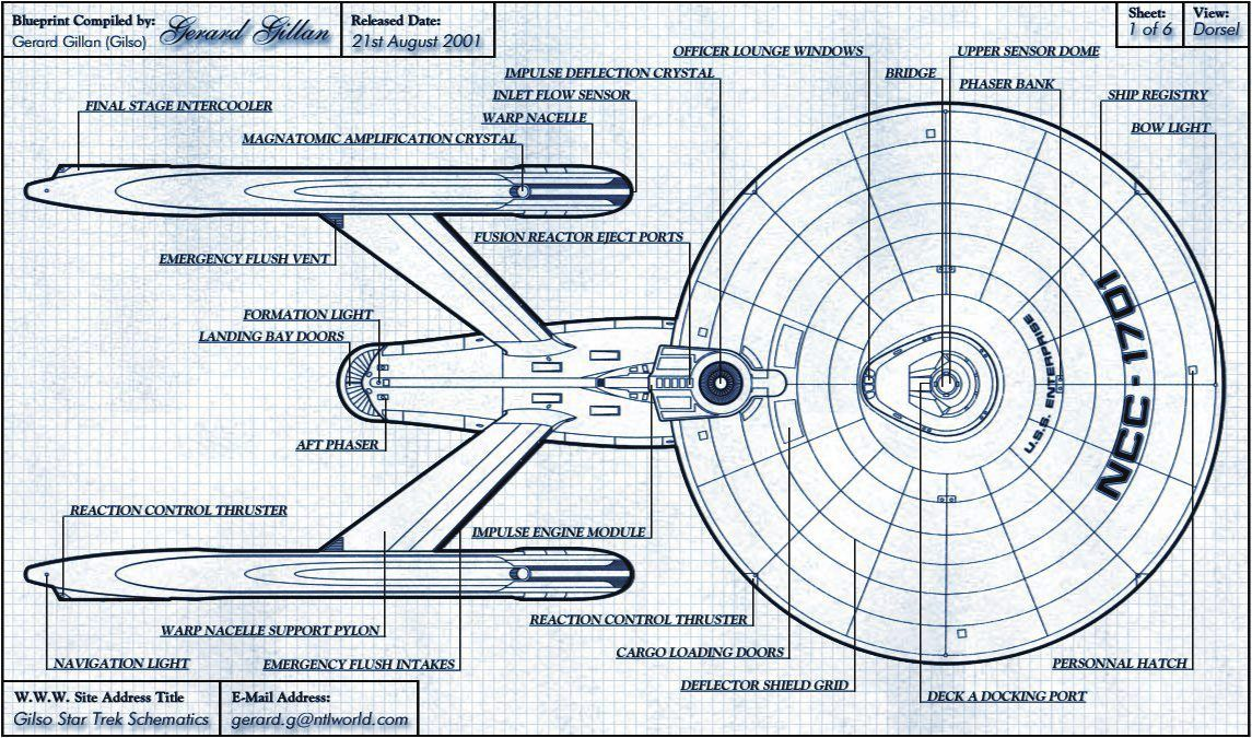 Schematic Rendering Of Constitution Class Starship, Dorsal Side