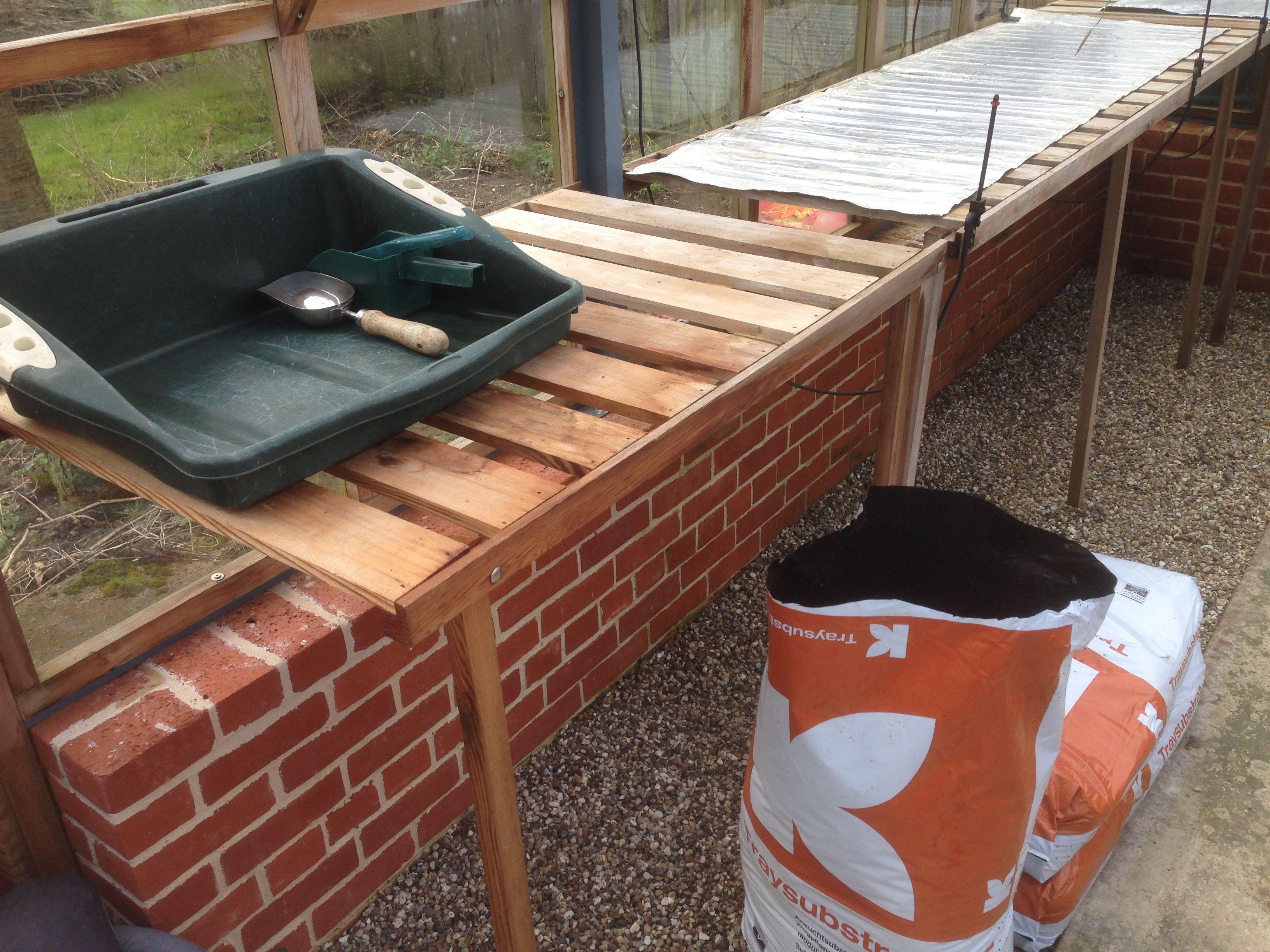 The potting station all ready to go! Farm gardens