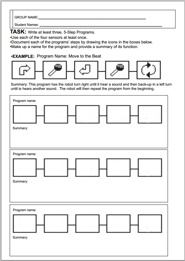 5-step NXT program worksheet | Robots | Worksheets, Step
