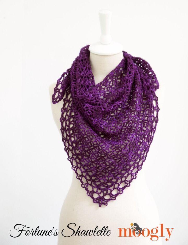Fortune\'s Shawlette - FREE one skein crochet pattern on Mooglyblog ...