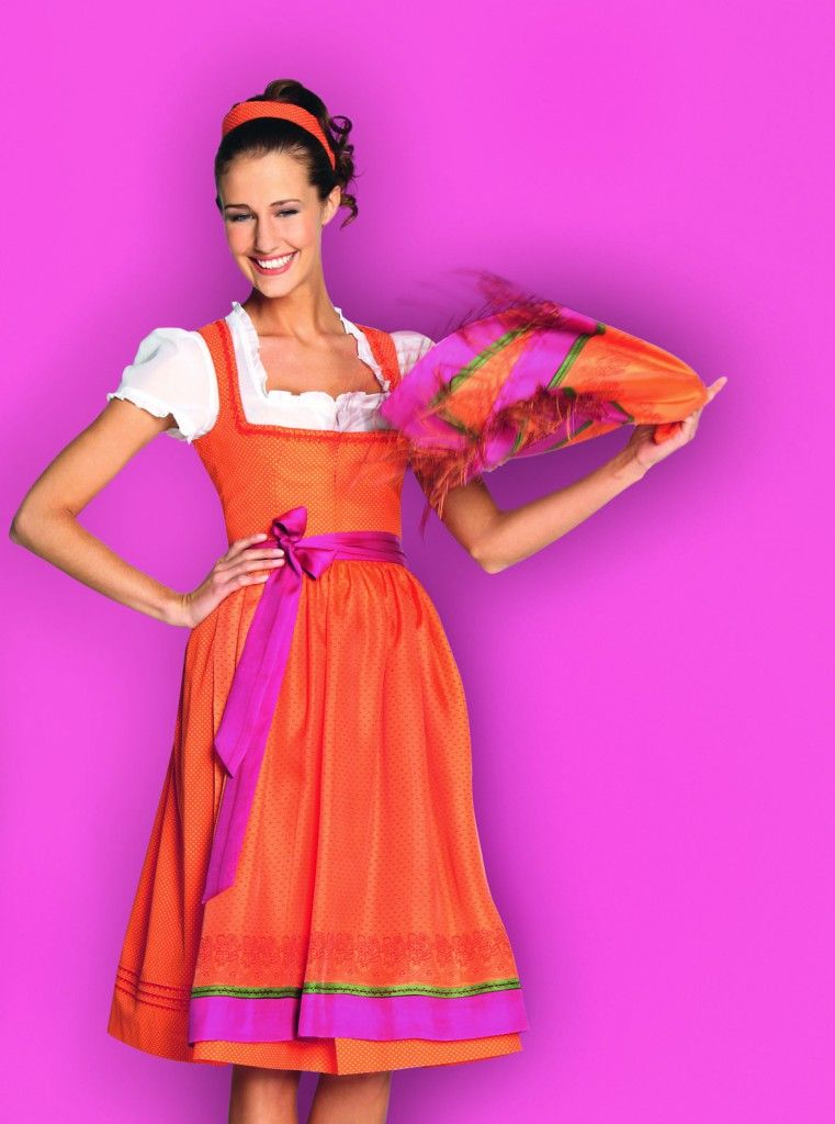 Our favority colors! Combined! Repinned by www.gorara.com Goessl Dirndl in orange, Dirndl-Kollektion H/W 2012