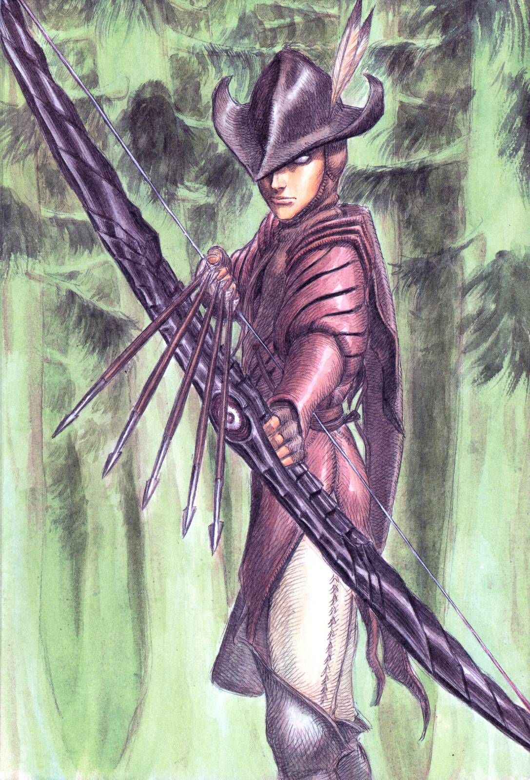 BERSERK (Kentaro Miura), Irvine (Berserk), Nature, Bow (Weapon), Forest, Archery