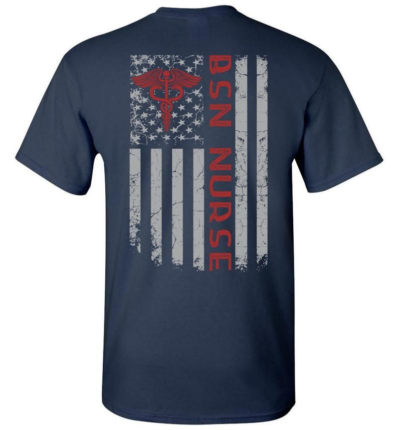 Bsn nurse shirts caduceus nurse flag shirt nurse