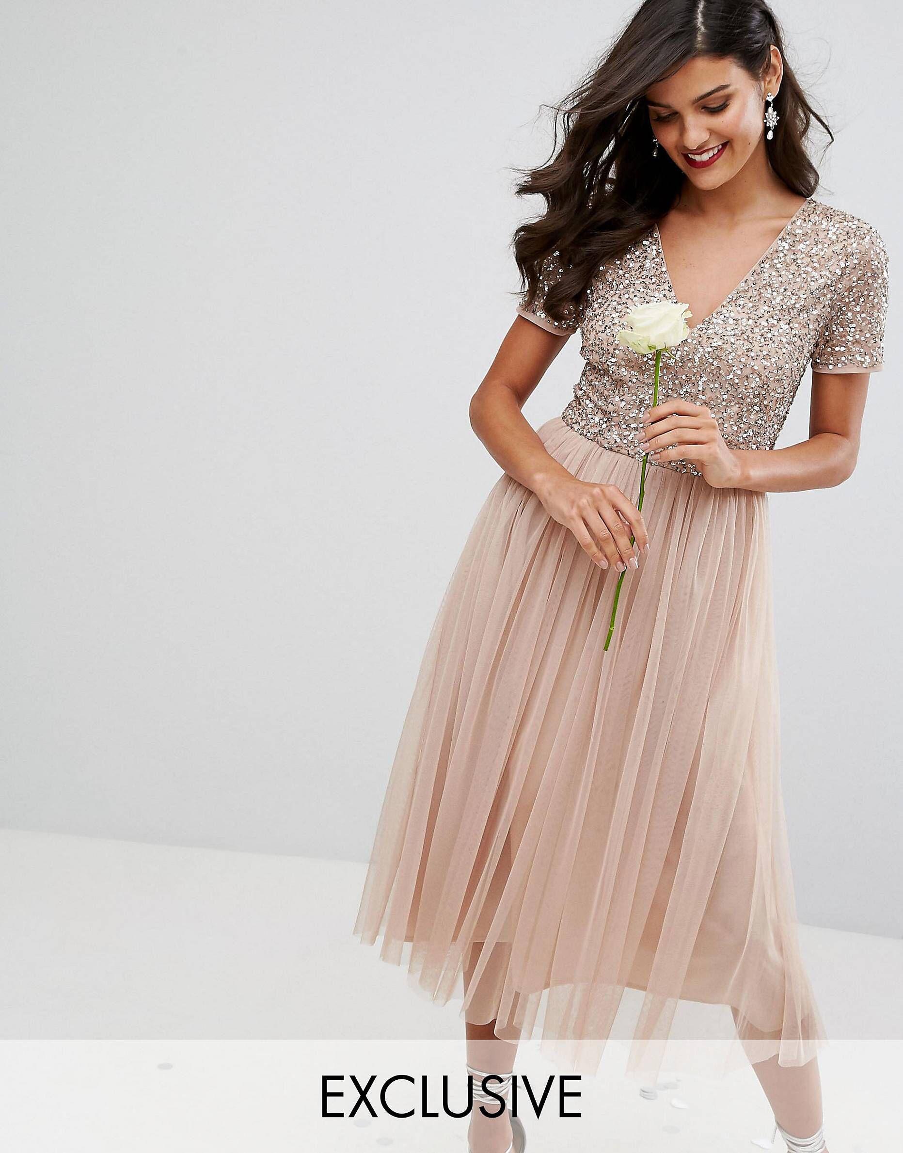 423099e3fcd Maya V Neck Cap Sleeve Midi Dress