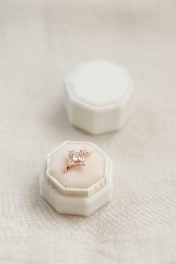White velvet ring box double slot, Ivory ring box for wedding, engagement, proposal, Ring box with monogram