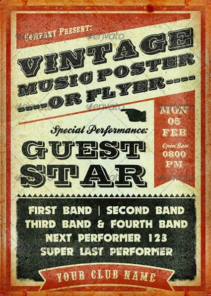 Vintage Music Poster Template  Play Diy    Vintage