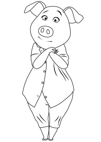 Pig Rosita From Sing Coloring Page Birthday Stuff Coloring Pages