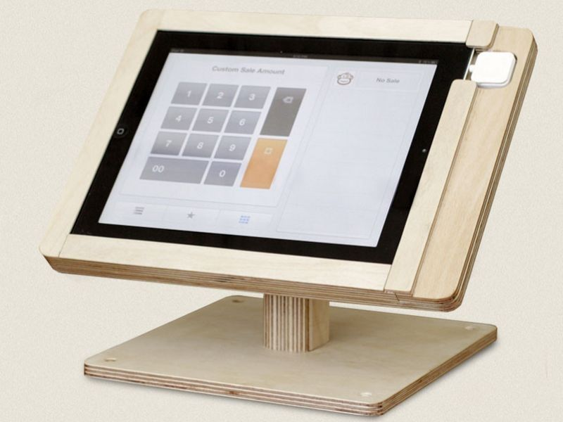 Tinkering Monkey\'s WoodFlip stand secures iPad and credit card ...