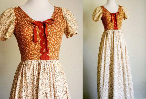 70's Prairie Dress. Orange & brown long floral cotton summer dress. X small, vintage corset top, empire waist. Boho, Hippie Peasant dress.