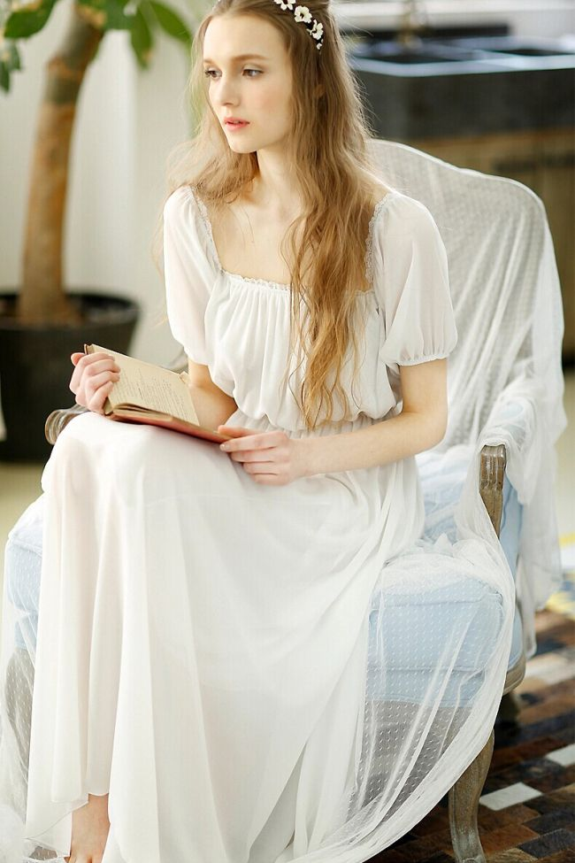Vintage White Chiffon Sweet Long Nightgown Sleepwear  2f603d56a