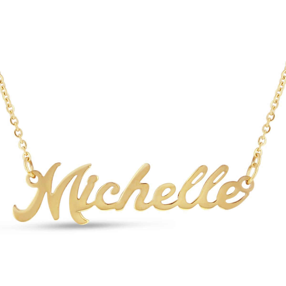 d95f73b7380bd 18k Goldplated 'Michelle' Nameplate Necklace (Michelle Nameplate ...