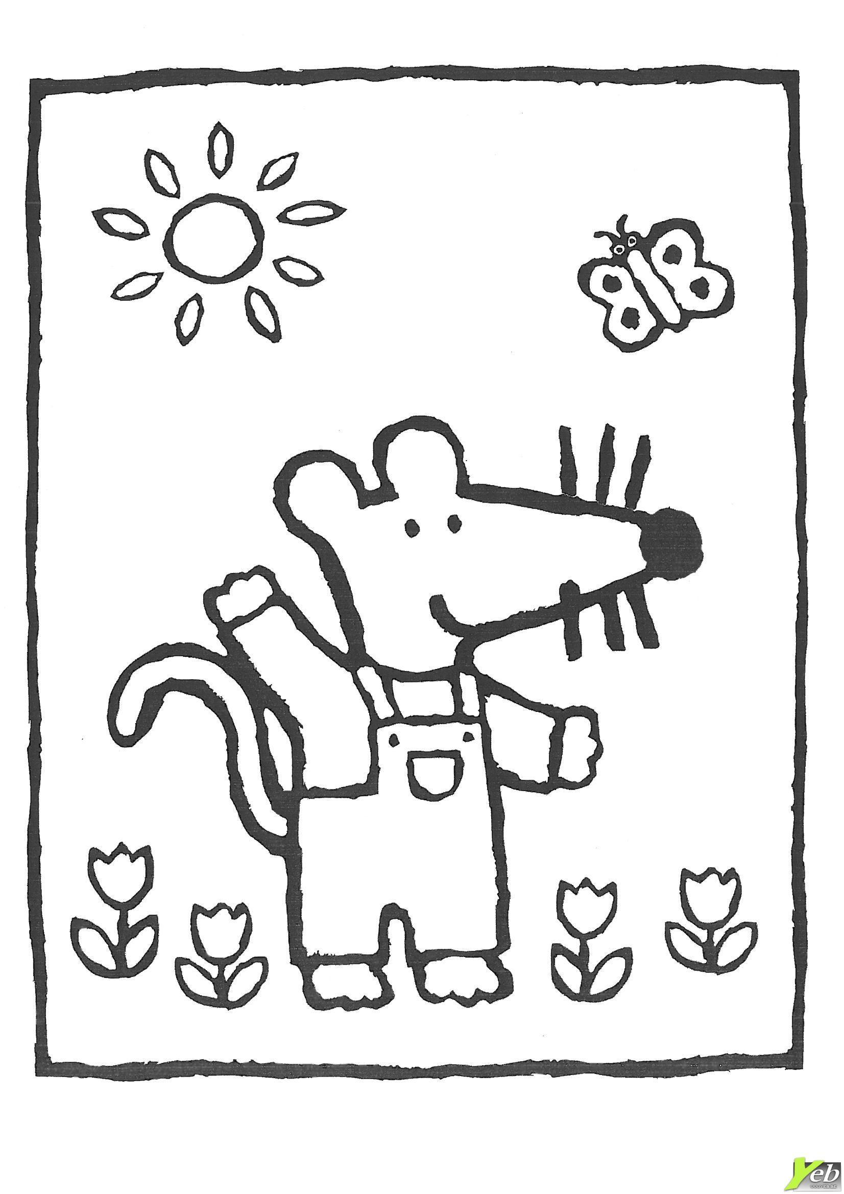 Mimi Au Soleil Coloriage Coloring Pages Maisy Mouse Mouse
