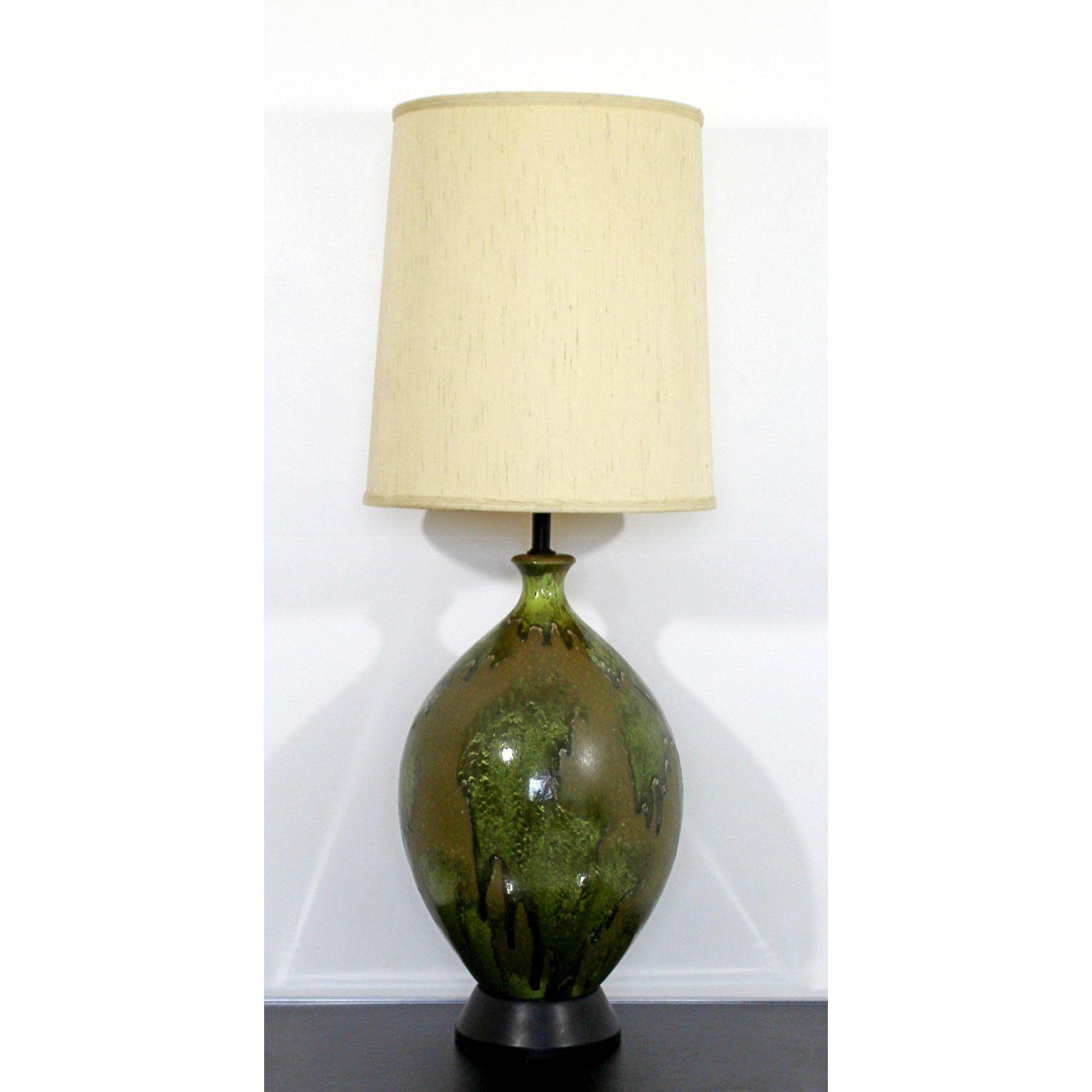 Mid Century Modern Green Drip Lava Glazed Ceramic Table Lamp Ceramic Table Lamps Ceramic Table Table Lamp