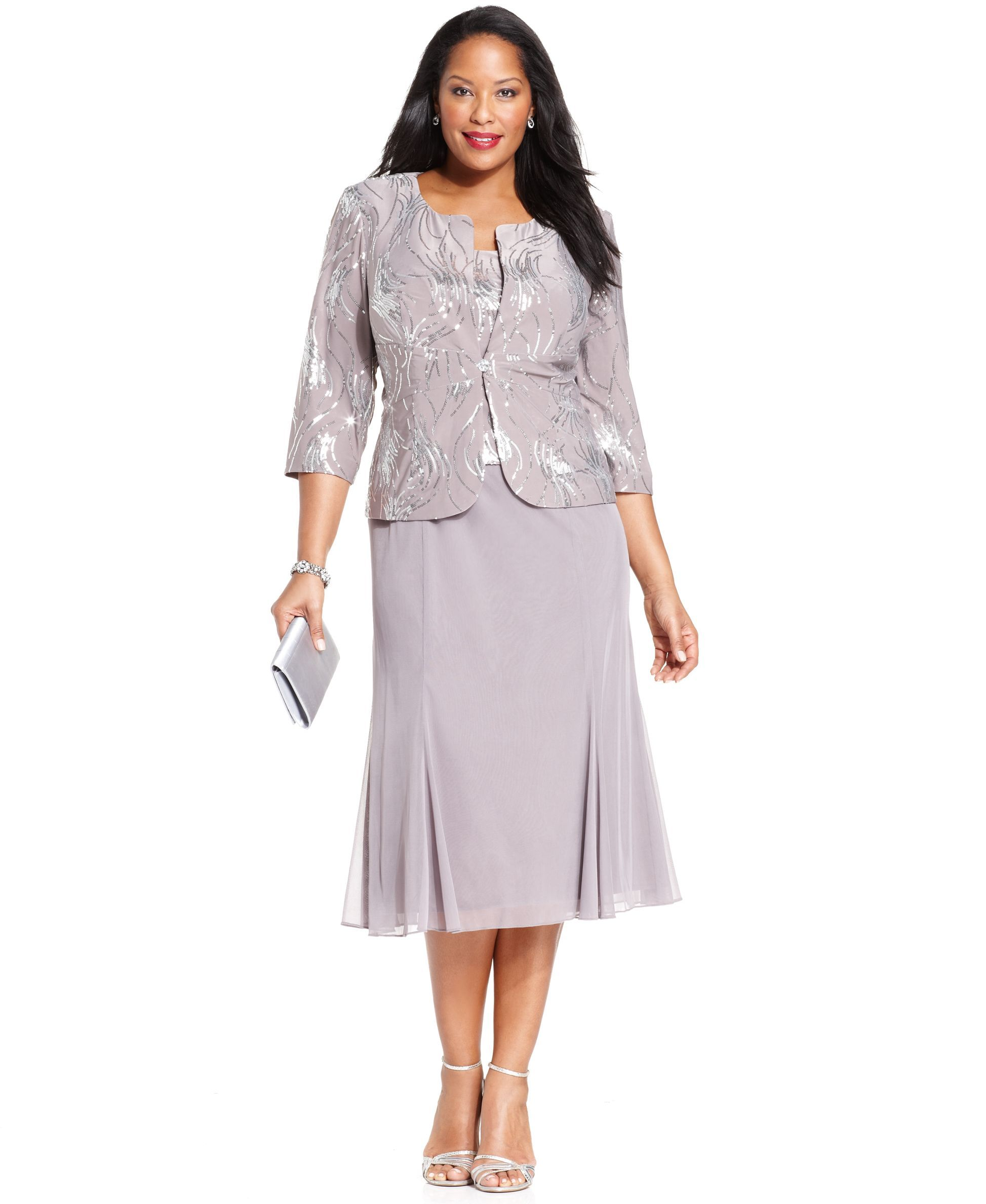 Alex Evenings Plus Size Sequined Chiffon Dress and Jacket ...