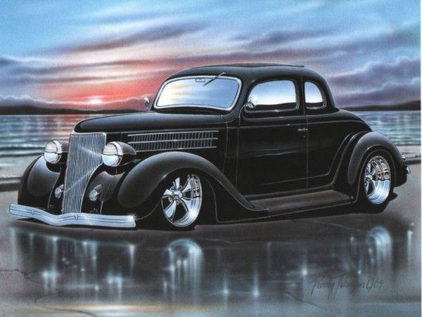 1936 ford 5 window coupe streetrod car art print for sale for 1936 ford 5 window coupe for sale