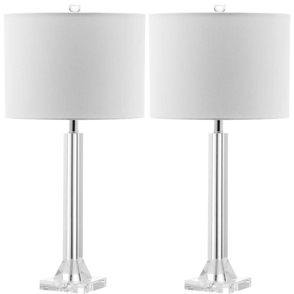 Safavieh Tyrone 27 in. Clear Crystal Column Table Lamp with