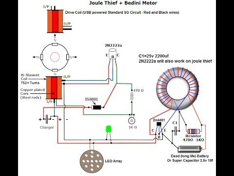 Schematics for Joule Thief Bedini - YouTube | DIY and crafts ...