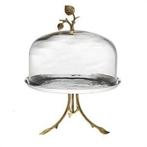 Leaf Design Footed Cake Plate with Glass Dome